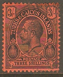 Turks and Caicos 1913 3s Black on red. SG139.