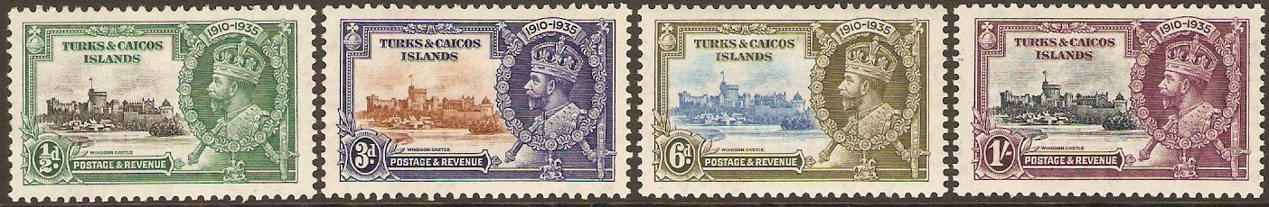 Turks and Caicos 1935 Silver Jubilee Set. SG187-SG190.