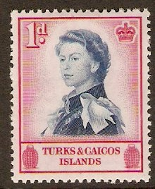 Turks and Caicos 1957 1d Deep blue and carmine. SG237.