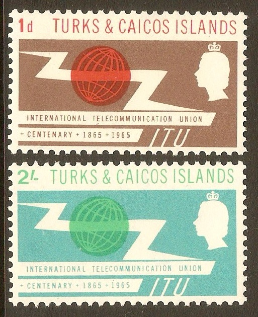 Turks and Caicos 1965 ITU Centenary Stamps. SG258-SG259.