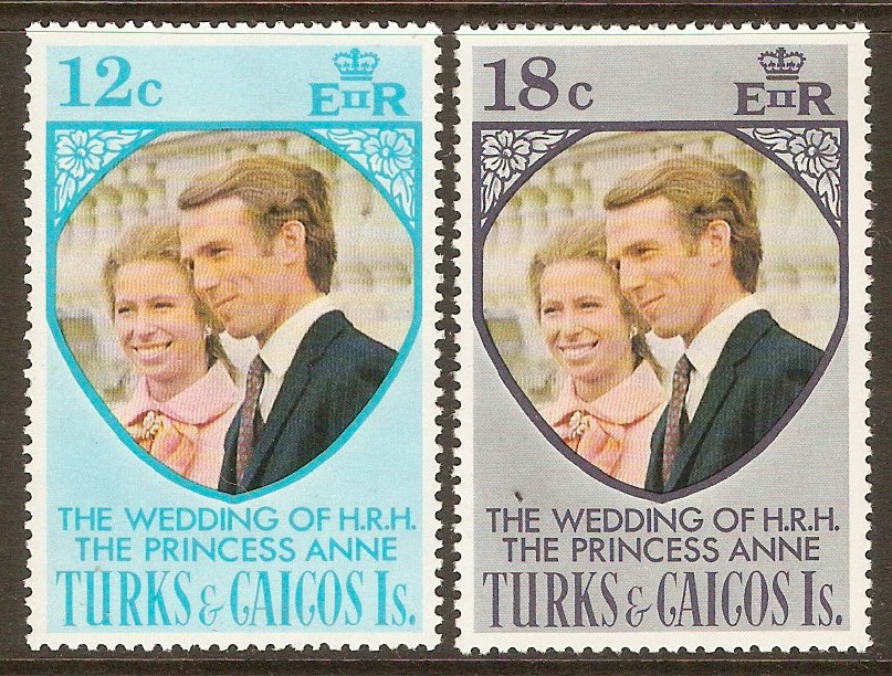 Turks and Caicos 1973 Royal Wedding Set. SG403-SG404.