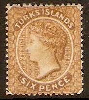 Turks Islands 1887 6d Yellow-brown. SG59.