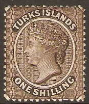 Turks Islands 1887 1s Sepia. SG60.