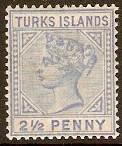Turks Islands 1882 2½d Ultramarine. SG65.