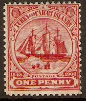 Turks and Caicos 1900 1d Red. SG102.