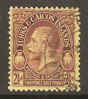 Turks and Caicos 1928 2½d Purple on yellow. SG180.
