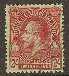 Turks and Caicos 1928 2s Red on emerald. SG184.