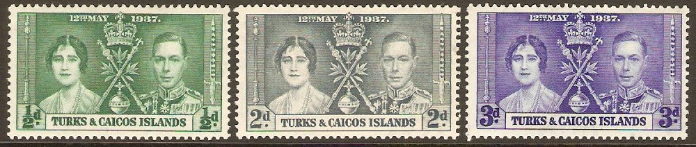 Turks and Caicos 1937 Coronation Set. SG191-SG193.