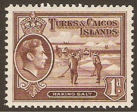 Turks and Caicos 1938 1d Red-brown. SG196.