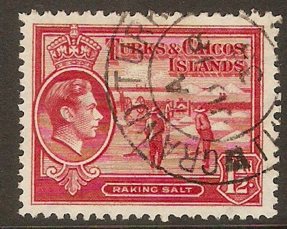 Turks and Caicos 1938 1½d Scarlet. SG197.