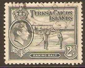 Turks and Caicos 1938 2d Grey. SG198.