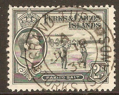 Turk and Caicos 1938 2d Grey. SG198.