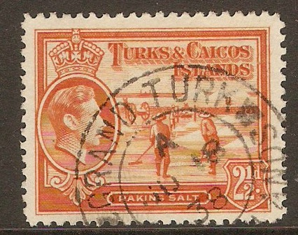 Turks and Caicos 1938 2½d Yellow-orange. SG199.
