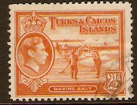 Turks and Caicos 1938 2½d Orange. SG199a.
