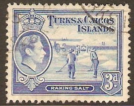 Turks and Caicos 1938 3d Bright blue. SG200.
