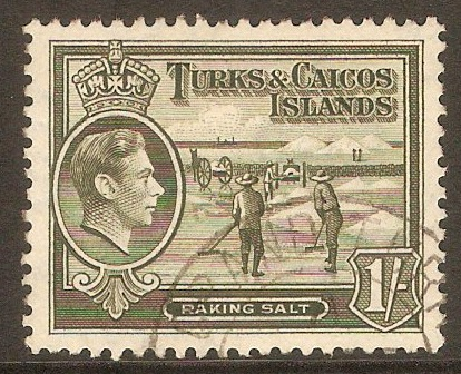 Turk and Caicos 1938 1s Grey-olive. SG202a.