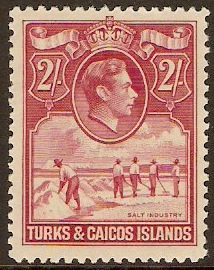 Turks and Caicos 1938 2s Deep rose-carmine. SG203.