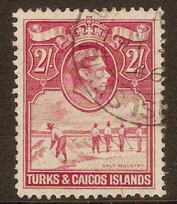 Turk and Caicos 1938 2s Deep rose-carmine. SG203.