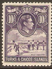 Turks and Caicos 1938 10s Bright violet. SG205.