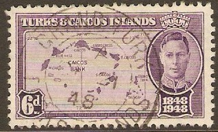 Turks and Caicos 1948 6d Violet. SG213.