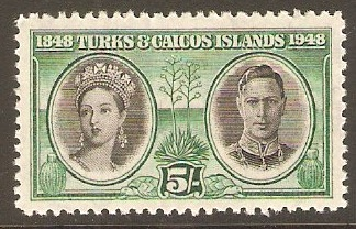 Turks and Caicos 1948 5s Black and green. SG215.