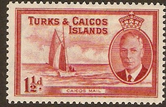 Turks and Caicos 1950 1½d Deep carmine. SG223.