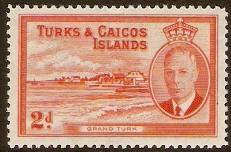 Turks and Caicos 1950 2d Red-orange. SG224.