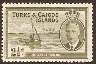 Turks and Caicos 1950 2½d Grey-olive. SG225.