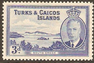 Turks and Caicos 1950 3d Bright blue. SG226.