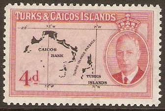 Turks and Caicos 1950 4d Black and rose. SG227.