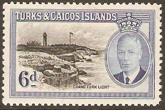 Turks and Caicos 1950 6d Black and blue. SG228.