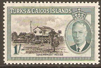 Turks and Caicos 1950 1s Black and blue-green. SG229.