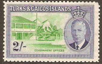 Turks and Caicos 1950 2s Emerald and ultramarine. SG231.