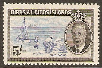 Turks and Caicos 1950 5s Blue and black. SG232.