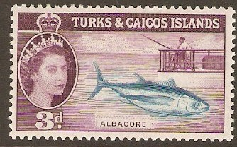 Turks and Caicos 1957 3d Turquoise-blue and purple. SG241.