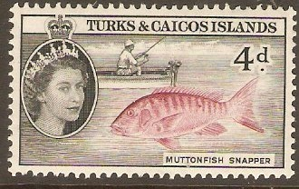 Turks and Caicos 1957 4d Lake and black. SG242.