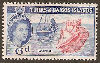 Turks and Caicos 1957 6d Carmine-rose and blue. SG244.