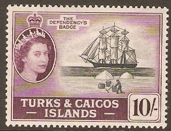 Turks and Caicos 1957 10s Black and purple. SG250.