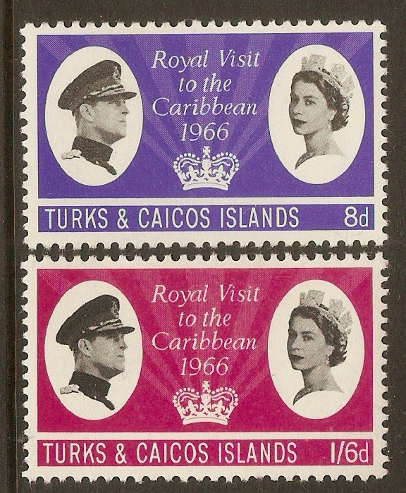 Turks and Caicos 1966 Royal Visit set. SG266-SG267.