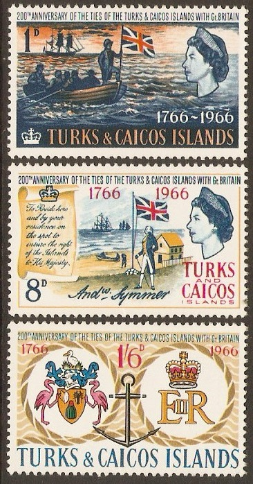 "Turks and Caicos 1966 ""Ties with Britain"" Set. SG268-SG270."