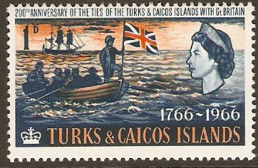 Turks and Caicos 1966 1d Deep blue and orange. SG268.