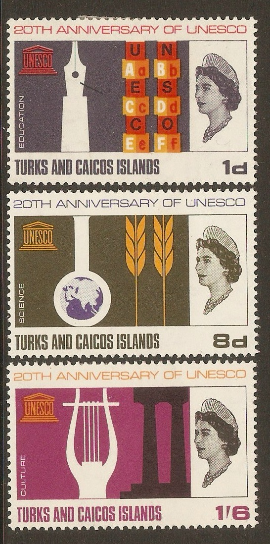 Turks and Caicos 1966 UNESCO Anniversary set. SG271-SG273.