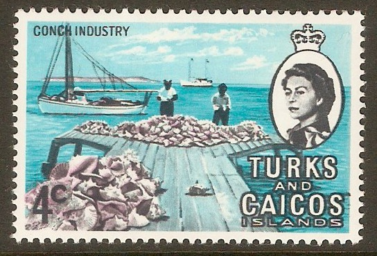 Turks and Caicos 1971 4c Conch Industry Stamp. SG336.