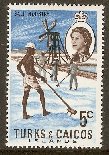 Turks and Caicos 1971 5c Salt Industry Stamp. SG337.