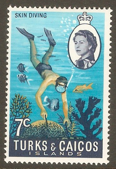 Turks and Caicos 1971 7c Skin-diving stamp. SG338.
