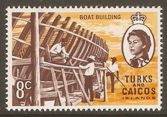 Turks and Caicos 1971 8c Boat Building Stamp. SG339.
