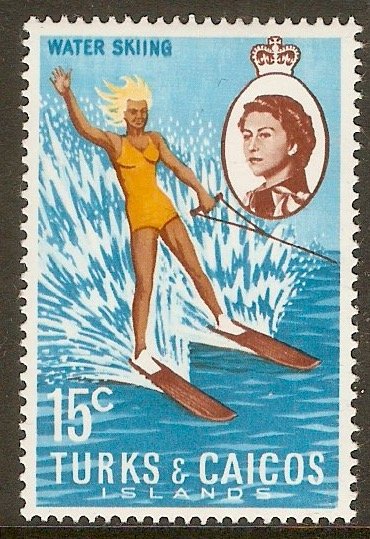 Turks and Caicos 1971 15c Water-skiing Stamp. SG341.