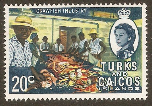 Turks and Caicos 1971 20c Crawfish Industry Stamp. SG342.
