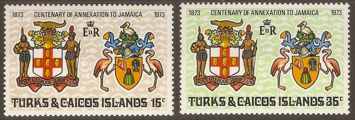 Turks and Caicos 1973 Annexation Centenary set. SG379-SG380.