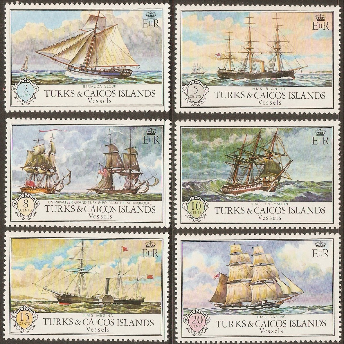Turk and Caicos Islands 1973 Vessels set. SG396-SG401.